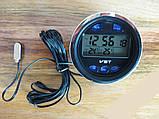 Автомобильные часы, термометр, вольтметр VST-7042V, фото 5