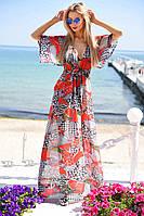 Длинная пляжная туника в пол из легкого прозрачного шифона 50 видов принтов в палитре:белый, мята, оранжевый