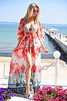 Длинная пляжная туника в пол из легкого прозрачного шифона 50 видов принтов в палитре:цветочный, малиновый, синий