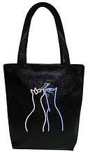"""Женская сумка - """"Коты с бабочкой"""" Б70 - черная"""
