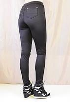 Трендовые черные лосины с прорезями на коленях, фото 3