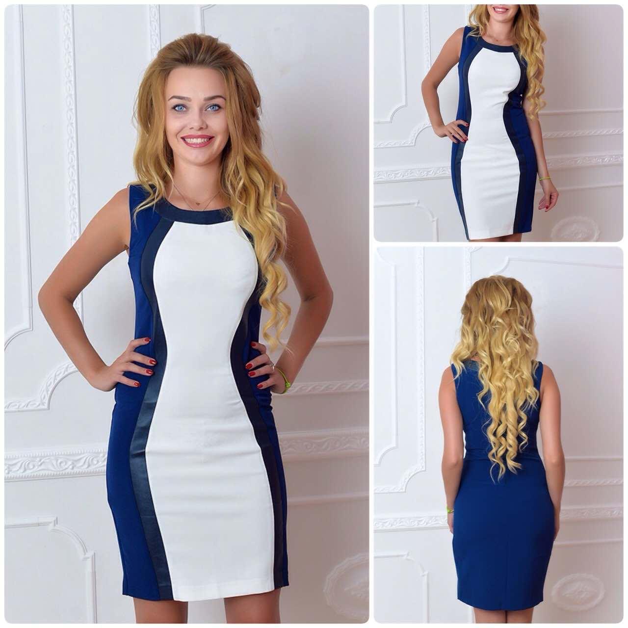 Платье (888) коктейль белое с темно синим - Магазин модной одежды Khan в Одессе