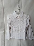 Блузка школьная детская для девочки 8-12 лет,белая