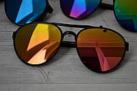 Солнцезащитные очки авиаторы капли унисекс в широкой оправе  Розово-жёлтый