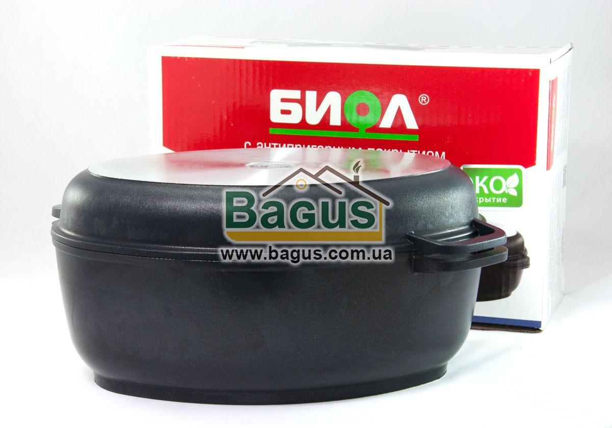 Гусятница 4л с антипригарным покрытием, крышкой сковородкой гриль, утолщенным дном Биол (G401P)