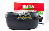 Гусятница 6л с антипригарным покрытием, крышкой сковородкой гриль, утолщенным дном Биол (Г601П)