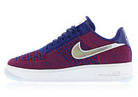 Женские кроссовки Nike Air Force 1 Ultra Flyknit Low PRM USA Gym Red Deep Royal Blue