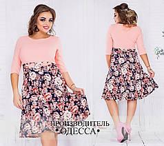 Стильное женское платье в цветочный принт, с бантиком.