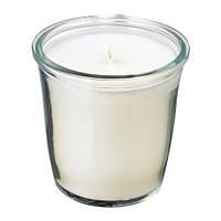 """ИКЕА """"SMÅTREVLIG"""" Ароматическая свеча в стакане, Сладкая ваниль, естественный"""