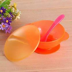 Набор посуды для первого прикорма малышей ( 3 предмета)  Оранжевый