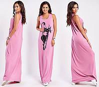 Женское длинное платье майка с качественным принтом