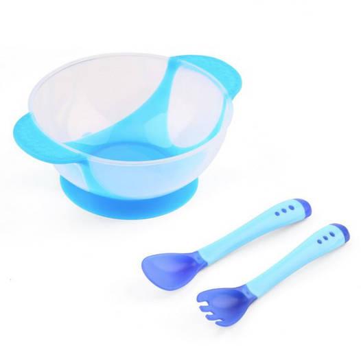 Набор посуды для первого прикорма малышей Голубой вилка+ложка