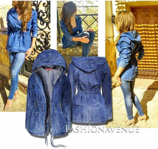 Женская джинсовая парка с капюшоном