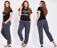 Летние черные женские брюки в горошек