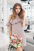 Бежевое красивое платье из льна
