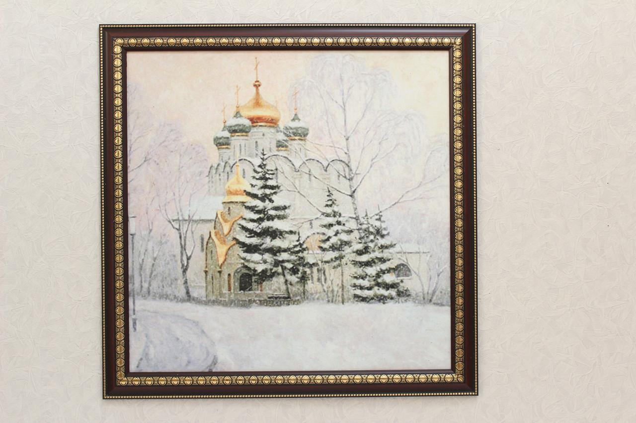 "Пейзаж ""церковь в лесу"" (60х60см)"