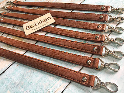 Ручка для сумки с карабинами (эко-кожа), коричневая