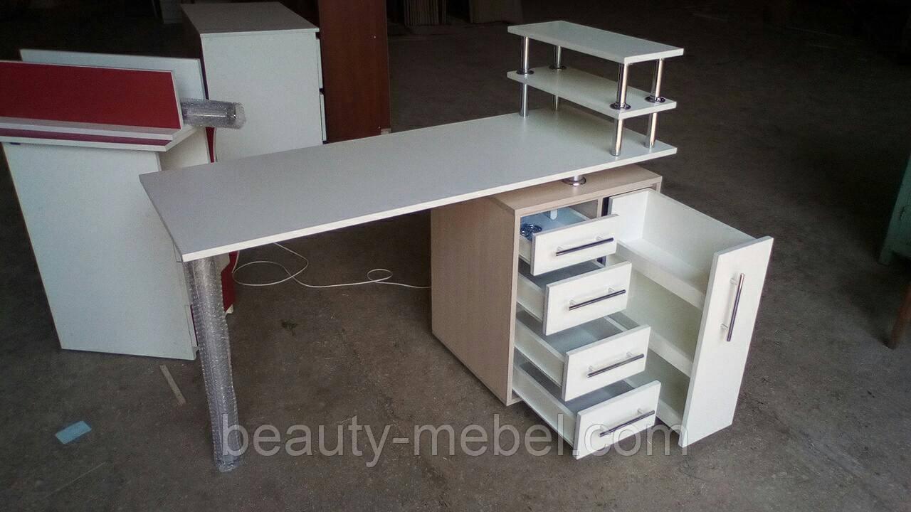 Маникюрный стол с ящиком карго и бактерицидной УФ лампой