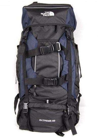 Туристичний рюкзак The North Face на 80 літрів (синій,хакі,синій)
