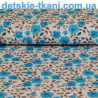 Трикотажное полотно сингл джерси с голубыми розочками (Польша)