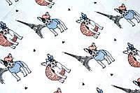 """Польская хлопковая ткань """"мопсы с башней на белом"""""""