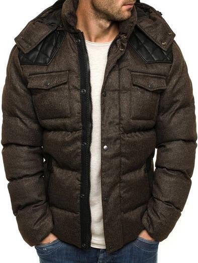 Мужская зимняя стёганая куртка с капюшоном - 1