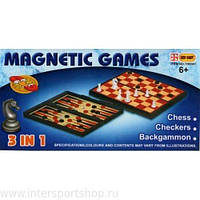 Шахматы, нарды, шашки магнитные 3в1 в коробке
