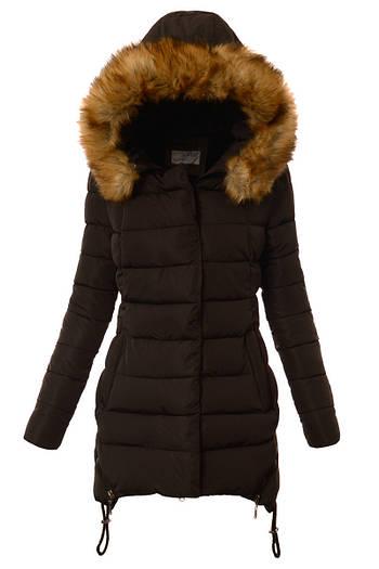 Зимний женский пуховик асимметричный  с капюшоном -1