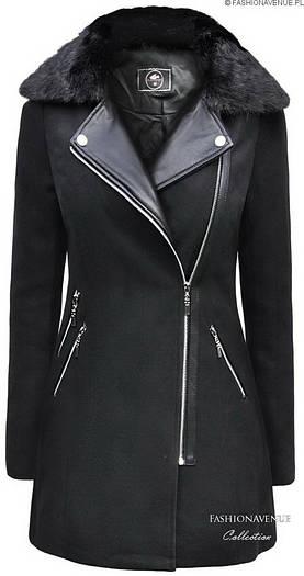Пальто женское демисезонное с отделкой эко-кожи