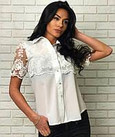 Модная молодежная блуза белая с гипюром