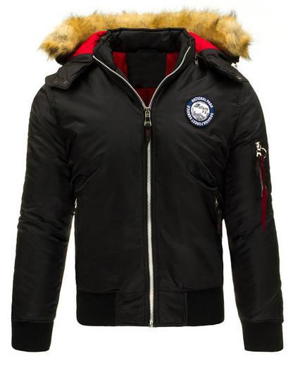 Мужская зимняя   куртка с капюшоном с нашивкой