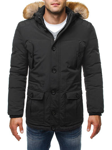 Мужская зимняя парка куртка с капюшоном чёрная -2