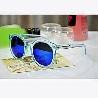 Очки солнцезащитные унисекс круглые прозрачная оправа