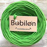 Трикотажная пряжа Bobilon 9-11 мм, цвет Зеленое яблоко