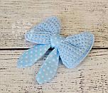 Декор для швейных изделий: бантики трикотажные голубого цвета с горошком., фото 3