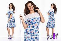 Платье летнее  с декором из сетки и кружева
