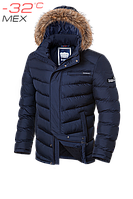 Куртка мужская зимняя на меху Braggart Aggressive -  4219D темно-синяя