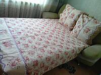 Постельный  двухспальный комплект GOLD красные Цветы