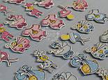 Наклейки декоративные голубого цвета для скрапбукинга (пустышка, бодик, коляска), фото 3