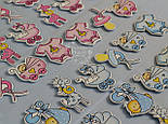 Наклейки декоративные розового цвета для скрапбукинга (жираф, малыш, коляска), фото 2