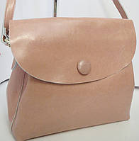 Модная сумка из натуральной кожи розового цвета