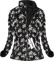 Двусторонняя женская стёганая куртка цветочный принт