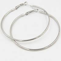 Серьги-кольца 0175 женские с родиевым покрытием в серебристом цвете