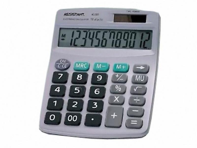 Калькулятор бухгалтерский Assistant АС-2320 черный 12 разряд, 152х120х39, пласт корп, пласт кн