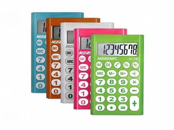 Калькулятор карманный Assistant АС-1116 розовый 8 разряд, 93х62х10, пласт корп, резин кн                                                             , фото 2
