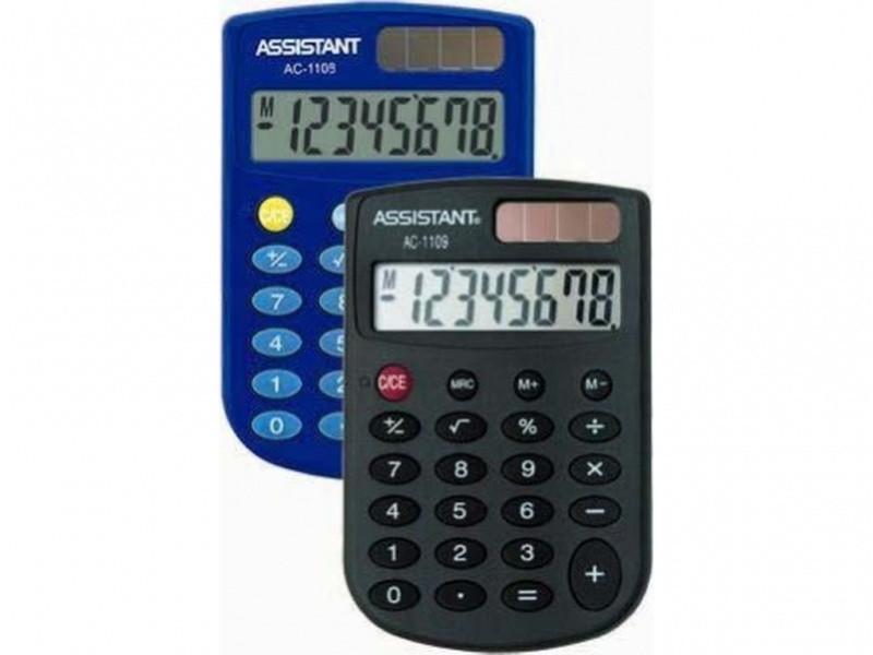 Калькулятор карманный Assistant АС-1109 черный 8 разряд, 86х58х8, ПВХ обклад, резин кн, округл ф-ма