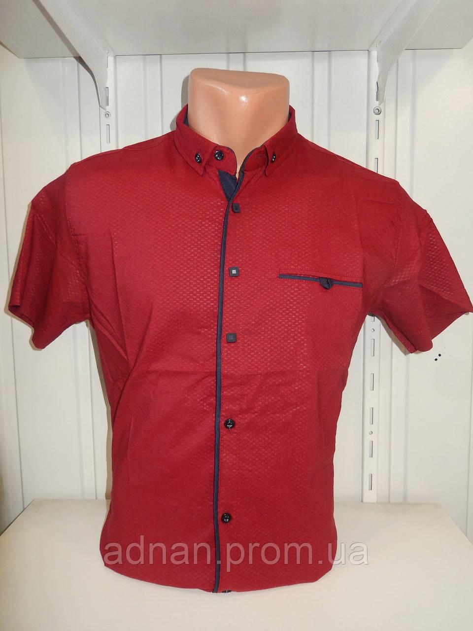 Рубашка мужская  CROM стрейч, заклепки узор шахматка 002 \ купить рубашку оптом.