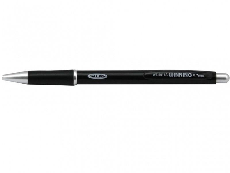 Ручка шариковая Winning WZ2011A синий 0.7 мм ассорти, автоматическая непрозрачная цветная, резиновый гриппп