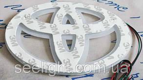 Автомобильный логотип Toyota 13*9см. светящаяся подкладка, белый/красный, фото 2