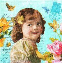 Салфетка декупажная Девочка и розы 2931